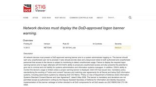 Network devices must display the DoD-approved logon banner warning.