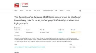 The Department of Defense (DoD) login banner must be displayed ...