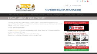 E-Wealth Account – Online Investment – N. J. Financial Planning