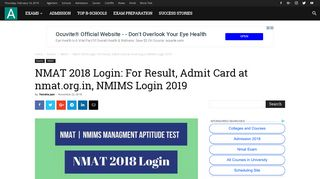 NMAT 2018 Login: For Result, Admit Card at nmat.org.in, NMIMS ...