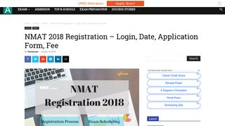 NMAT 2018 Registration - Login, Date, Application Form, Fee - aglasem