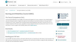 Nursing and Midwifery Council (NMC) :: Pearson VUE