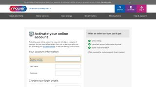 Register your home account online – npower