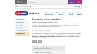 How do I register another npower account? | npower
