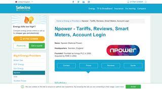 Npower - Tariffs, Reviews, Smart Meters, Account Login | Selectra