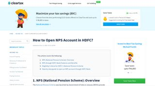 How to open NPS account in HDFC? - ClearTax