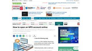 NPS Account: How to open an NPS account online