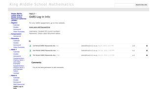 OARS Log-in Info - King Middle School Mathematics - Google Sites