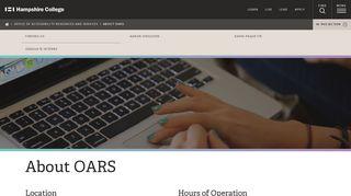About OARS   www.hampshire.edu
