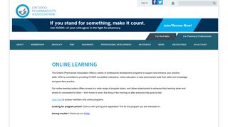 Online learning - Ontario Pharmacists Association