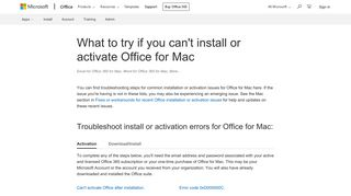 What to try if you can't install or activate Office for Mac - Office Support