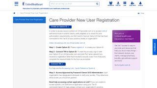 Care Provider New User Registration | UHCprovider.com