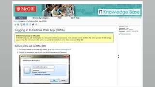 Logging in to Outlook Web App (OWA)