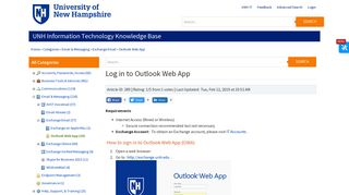 Log in to Outlook Web App - University of New Hampshire