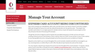Manage Your Account Express Card ID - Owens Community College