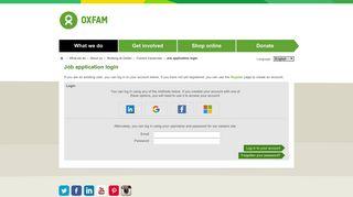 Oxfam - Job application login