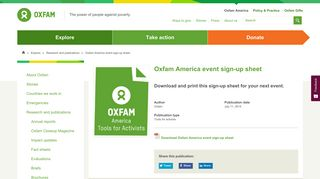 Oxfam America event sign-up sheet | Oxfam America