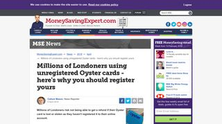 Millions of Londoners using unregistered Oyster cards - here's why ...