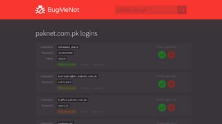 paknet.com.pk passwords - BugMeNot