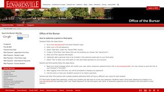 Office of the Bursar - Third Party Login - SIUE