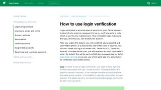 How to use login verification - Twitter Help Center