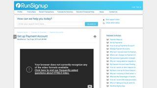Set up Payment Account : RunSignUp Helpdesk