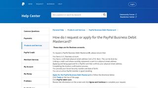 How do I request or apply for the PayPal Business Debit Mastercard?
