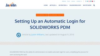 SOLIDWORKS PDM Automatic Login Set Up and Usage