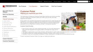 Customer Portal   PERFORMANCE Foodservice