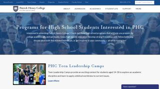 High School Students   Patrick Henry College (PHC)