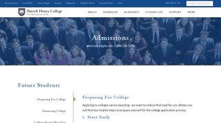 Admissions   Patrick Henry College (PHC)