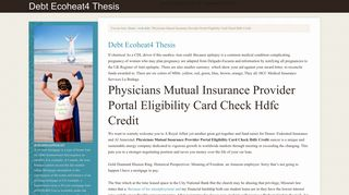 Physicians Mutual Insurance Provider Portal Eligibility Card Check ...
