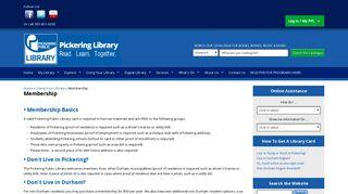 Membership | Pickering Library