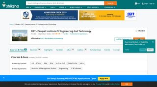 PIET - Panipat Institute Of Engineering And Technology - Courses ...