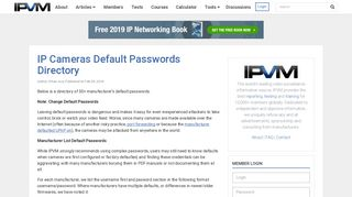 IP Cameras Default Passwords Directory - IPVM.com