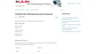 LILIN NVR / VDO / DVR Default Username and Password – LILIN ...