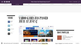 Yahoo Games Has Passed Away at Just 17 | WIRED