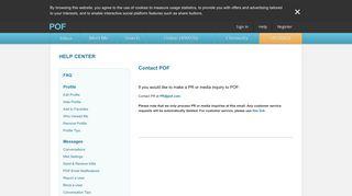 POF Help Center - Contact POF   POF.com