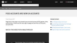 Pogo - Pogo accounts are now EA accounts - EA Help - Electronic Arts