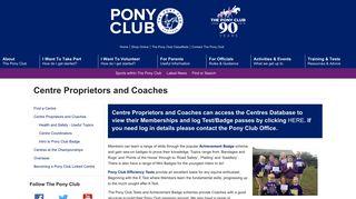 Centre Proprietors and Coaches   The Pony Club