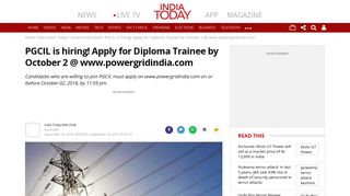 PGCIL is hiring! Apply for Diploma Trainee by October 2 ... - India Today