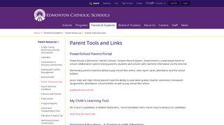Parent Tools and Links - Edmonton Catholic Schools
