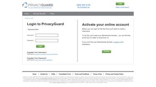 Log in to your PrivacyGuard account