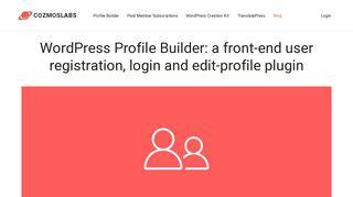 WordPress Profile Builder: a front-end user registration, login and edit ...