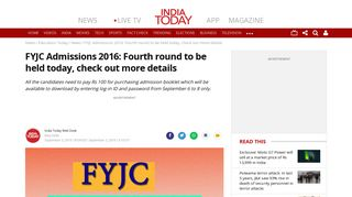 FYJC Admissions 2016: Fourth round to be held today, check out more ...