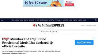 FYJC Mumbai and FYJC Pune Provisional Merit List declared ...