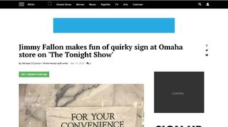 Jimmy Fallon makes fun of quirky sign at Omaha store on 'The Tonight ...
