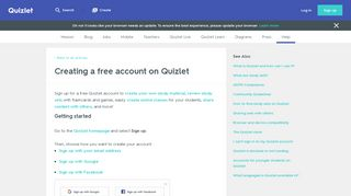 Creating a free account on Quizlet   Quizlet