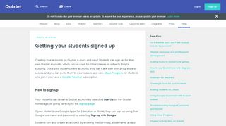Getting your students signed up   Quizlet