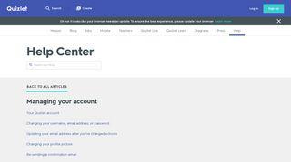Managing your account   Quizlet